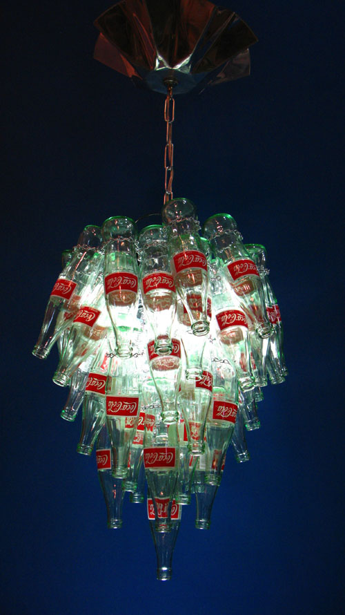 Eco1stArt: Pop Art :  eco chic decor upcycled coke bottles chandelier light