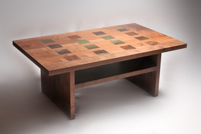Walnut And Copper Inlay Table